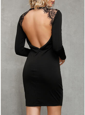Lace/Solid Long Sleeves Bodycon Above Knee Little Black/Sexy/Party Dresses