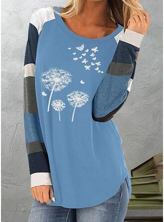 Color Block Paardebloem Print Ronde Hals Lange Mouwen T-shirts