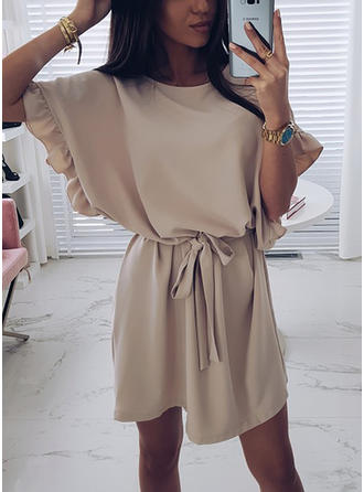Solid Short Sleeves/Batwing Sleeves A-line Above Knee Casual Dresses