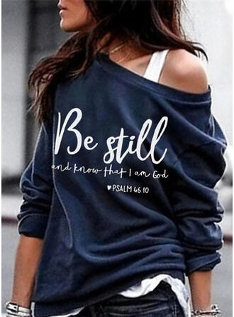 Print Figuur One Shoulder Lange Mouwen Sweatshirts