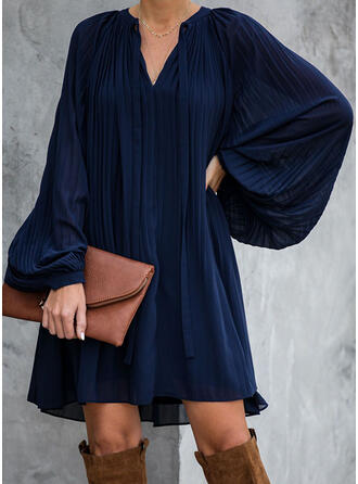 Solid Long Sleeves Shift Above Knee Casual/Vacation Dresses