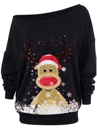 Dyr One Shoulder Lange ærmer Jule sweatshirt