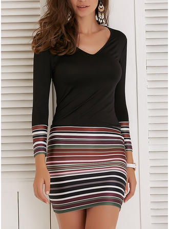 Striped Long Sleeves Bodycon Above Knee Casual Dresses