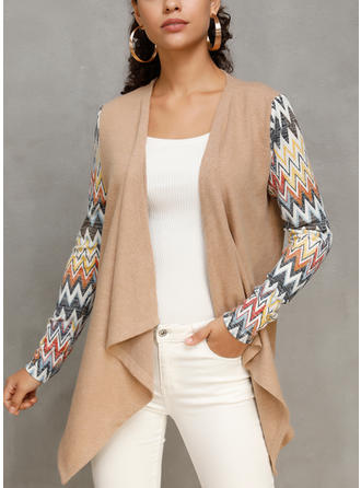 Polyester Long Sleeves Striped Wide-Waisted Coats