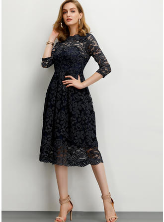 Lace 3/4 Sleeves A-line Midi Party/Elegant Dresses