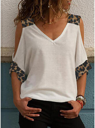 Patchwork Leopard Cold Shoulder 3/4 Sleeves Casual Blouses