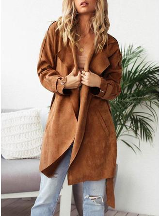 Faux Fur Long Sleeves Plain Trench Coats