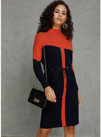 Color Block Long Sleeves Sheath Knee Length Casual/Elegant Dresses