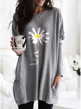 Print Blomster rund hals Lange ærmer Sweatshirts
