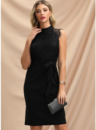 Lace/Solid Cap Sleeve Sheath Knee Length Little Black/Party Dresses