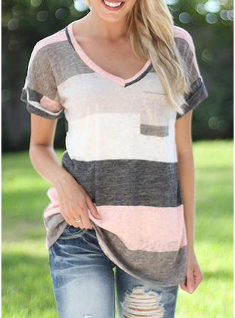 Print V Neck Short Sleeves Casual T-shirts