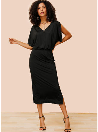 Solid 1/2 Sleeves/Split Sleeve Sheath Midi Little Black/Casual/Elegant Dresses