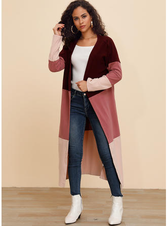 Cotton Blends Long Sleeves Color Block Patchwork Trench Coats Wide-Waisted Coats