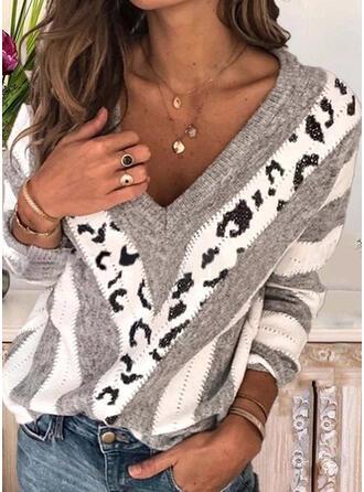 Impresión Bloque de Color Punto De Cable Cuello en V Suéteres