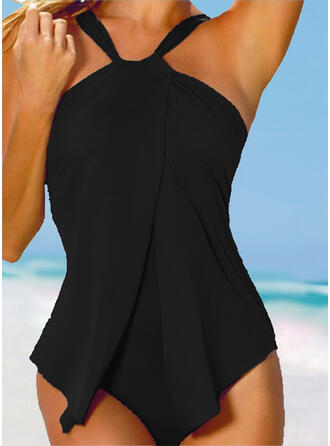 Solid Color Halter Sexy Fresh Plus Size One-piece Swimsuits
