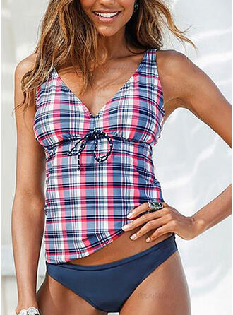 Plaid Print Strap Sexy Tankinis Swimsuits