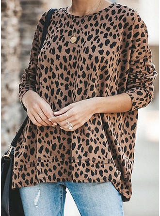 Animal Print Round Neck Long Sleeves Casual Knit T-shirts
