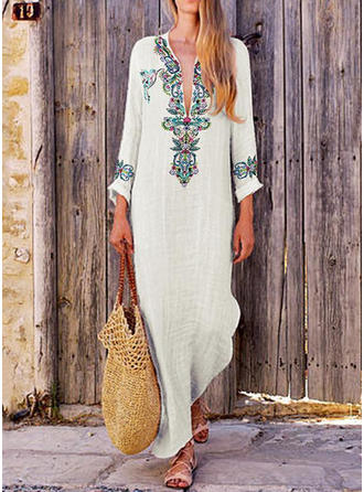 Print Long Sleeves Shift Maxi Casual/Boho Dresses