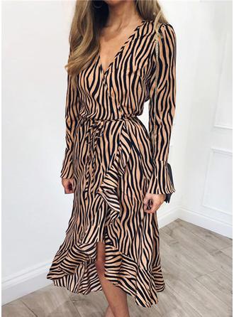 Print Long Sleeves/Flare Sleeves A-line Casual/Elegant Midi Dresses
