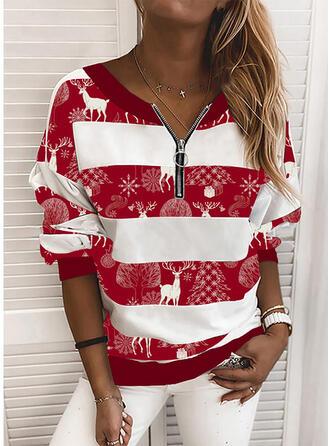 Dyr V-hals Lange ærmer Jule sweatshirt