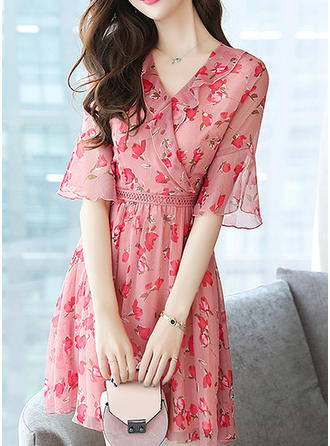 Print/Floral 1/2 Sleeves A-line Above Knee Casual Dresses
