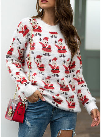 Women's Polyester Print Chunky knit Santa Ugly Christmas Sweater