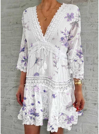 Lace/Print/Floral 3/4 Sleeves Shift Above Knee Elegant Dresses