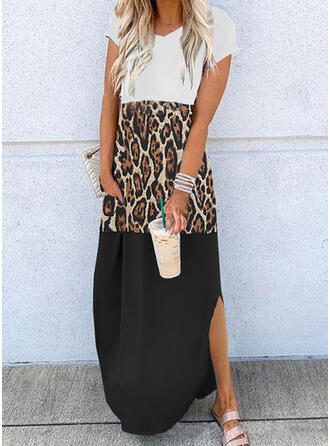 Color Block/Leopard Short Sleeves Shift T-shirt Casual Maxi Dresses
