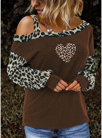 Impresión Leopardo Top sin Hombros Manga Larga Casual Blusas