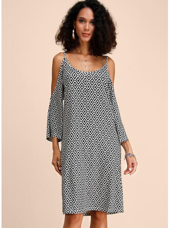 Print 3/4 Sleeves/Cold Shoulder Sleeve Shift Knee Length Casual Dresses