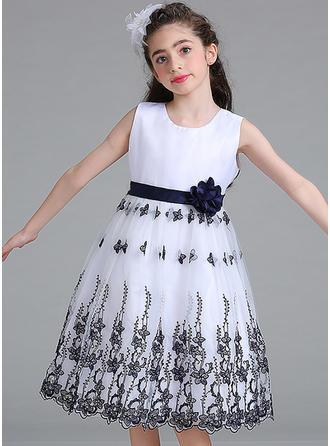 Dziewczyny Okrągły Dekolt Kwiatowy Koronka Ładny Party Flower Girl Sukienka