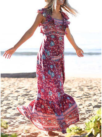 Print/Floral Cap Sleeve A-line Maxi Sexy/Casual/Boho/Vacation Dresses
