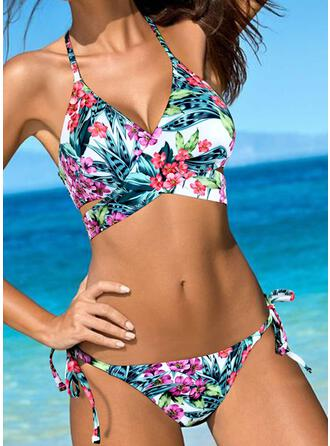 Floral Print Drawstring Halter Sexy Fashionable Bikinis Swimsuits