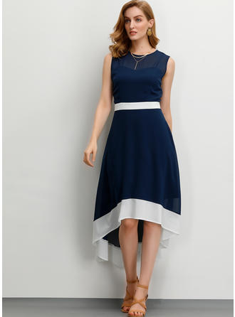 Solid Sleeveless A-line Asymmetrical Party/Elegant Dresses
