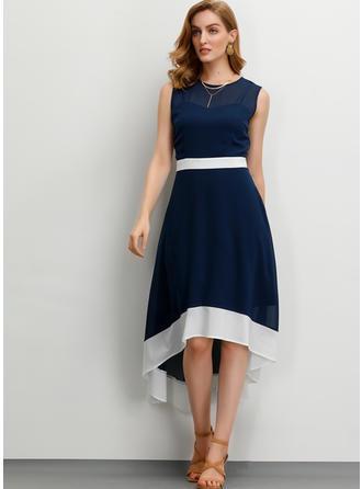 Einfarbig Ärmellos A-Linien Asymmetrisch Party/Elegant Kleider