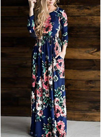 Floral 3/4 Sleeves A-line Maxi Casual Dresses