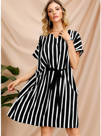Print/Striped Short Sleeves Shift Knee Length Casual Dresses