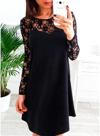 Dentelle/Couleur Unie Manches Longues Droite Longueur Genou Petites Robes Noires/Décontractée/Élégante Robes