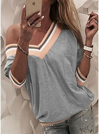 Striped One-Shoulder 3/4 Sleeves Casual T-shirts