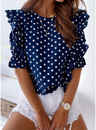 PolkaDot Round Neck Puff Sleeves Short Sleeves Casual Elegant Blouses