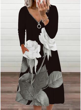 Estampado/Floral Manga Comprida Vestidos soltos Casual Midi Vestidos