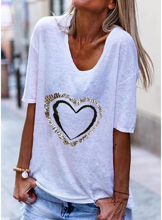 Hjerte Trykk V-hals 1/2-ermer T-skjorter