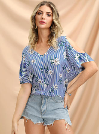 Floral Cold Shoulder Short Sleeves Casual Blouses