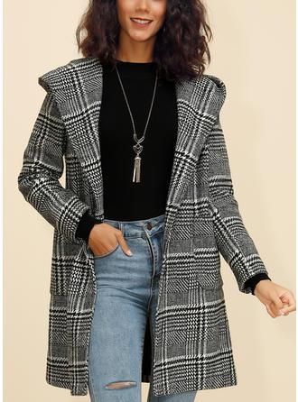 Polyester Dlouhé rukávy Jednobarevný Kabáty široké v pase