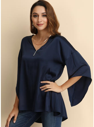 Solid V-Neck Flare Sleeve 3/4 Sleeves Casual Blouses