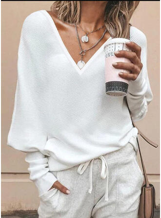 Solid V-neck Batwing Sleeve Casual Knit T-shirts