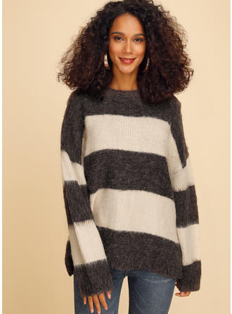 Color Block Striped Chunky knit Round Neck Sweaters