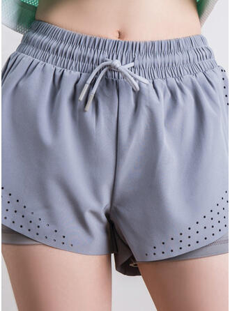 Solid Solid Sporty Yoga Shorts
