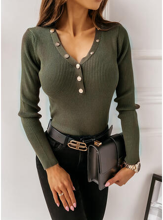 Solid V-Neck Casual Tight Sweaters (1002333809)