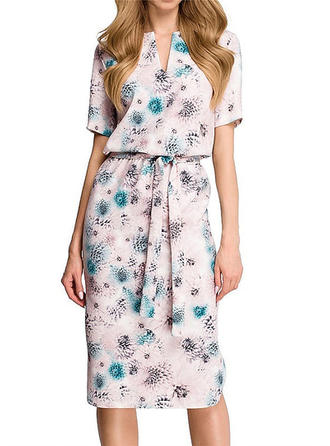 Floral Short Sleeves A-line Boho/Vacation Midi Dresses